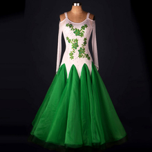 Ballroom Dance Dress Women 2017 New Long Sleeve Green Standard Tango Waltz Flamenco Ballroom Competition Dresses Adult