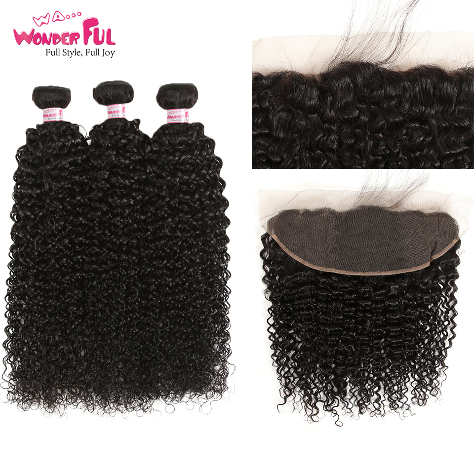 WA Wonderful Peruvian Kinky Curly Human Hair Bundles With Frontal Human Hair Weave Ear To Ear
