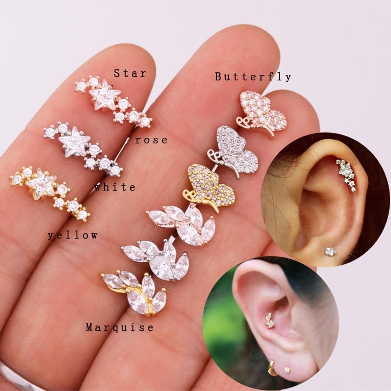 Sellsets 1 Pc Cz Star Helix Earring Cartilage Tragus Stud Barbells