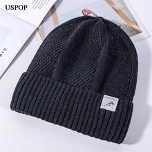 USPOP 2019 Winter hats for men solid color velvet beanies unisex thick warm knit skullies