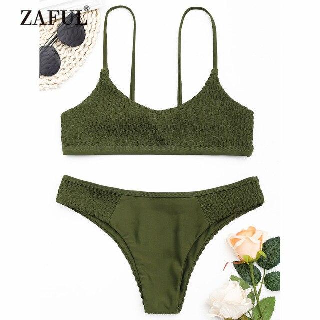51fb3c04384 ZAFUL 2018 New Women Smocked Scoop Bikini Set Swimwear Women Swimsuit  Spaghetti Straps Unlined Sexy Smoked