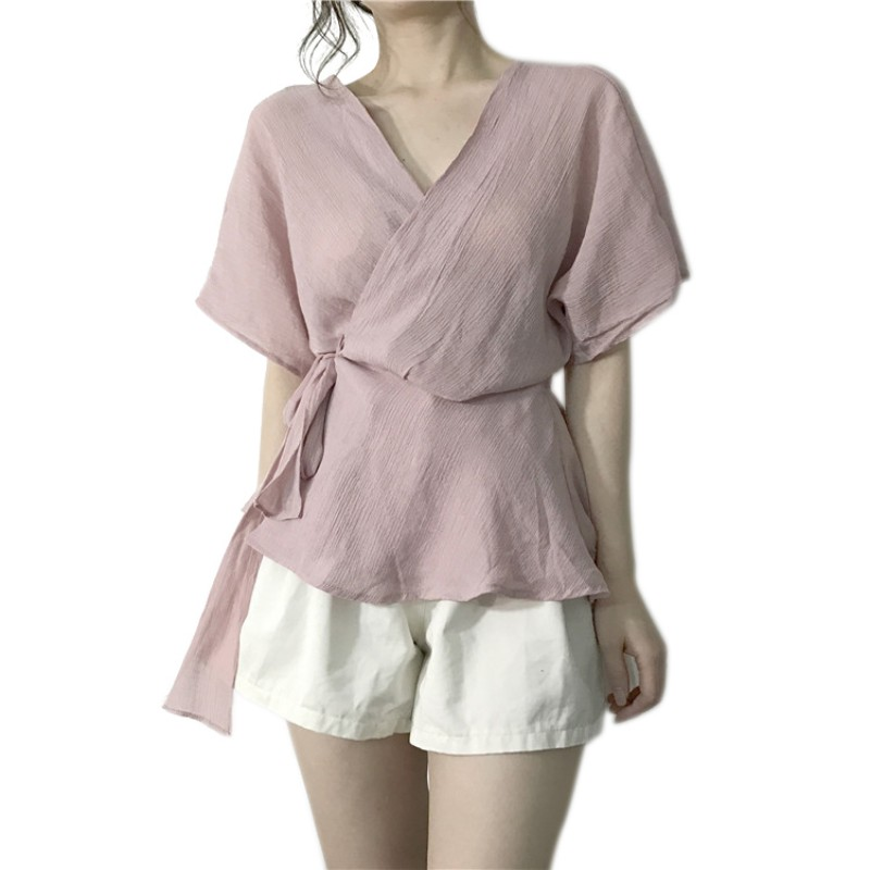 Neploe Ruffles Chiffon Shirt Short Sleeve Bow Tie Lace-up Blouse Japanese Sweet Princess Blusas Woman Sexy Strapless Tops 35990 Choice Materials Blouses & Shirts