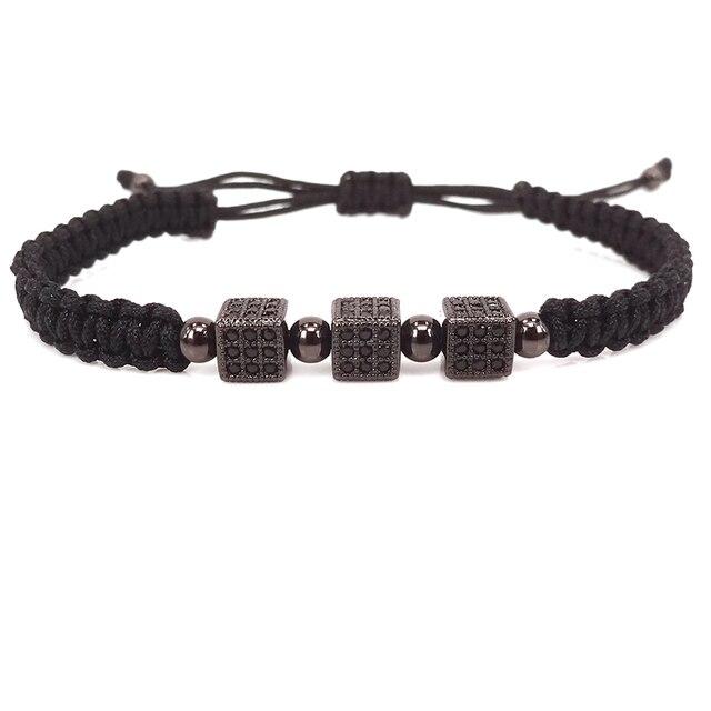 94bc45813308 2019 nouvelle mode noir hommes bracelets cube bijoux bracelet Femmes  bracelet pour hommes Macrame bracelets de