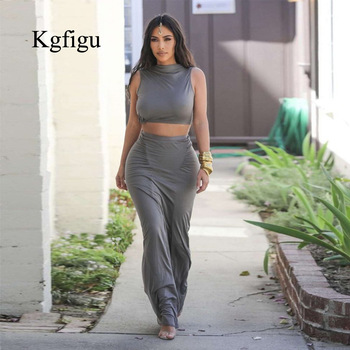 Gray Stretchy Snug Kylie Jenner Outfits Women Party Tank Tops And Long Ruched Skirts Sets Summer Two Piece Matching Tracksuit