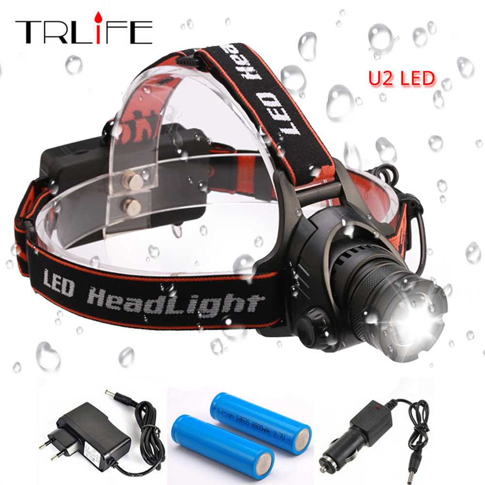 6000 Lumens LED Headlamp L2 Headlight 3 Mode Zoomable Waterproof Head Lamp Light +2*18650 battery +AC Charger +Car Charger 5 t6 led headlight 30000 lumens 4 mode zoomable led headlamp rechargeable head lamp flashlight 2 18650 battery ac dc charger box