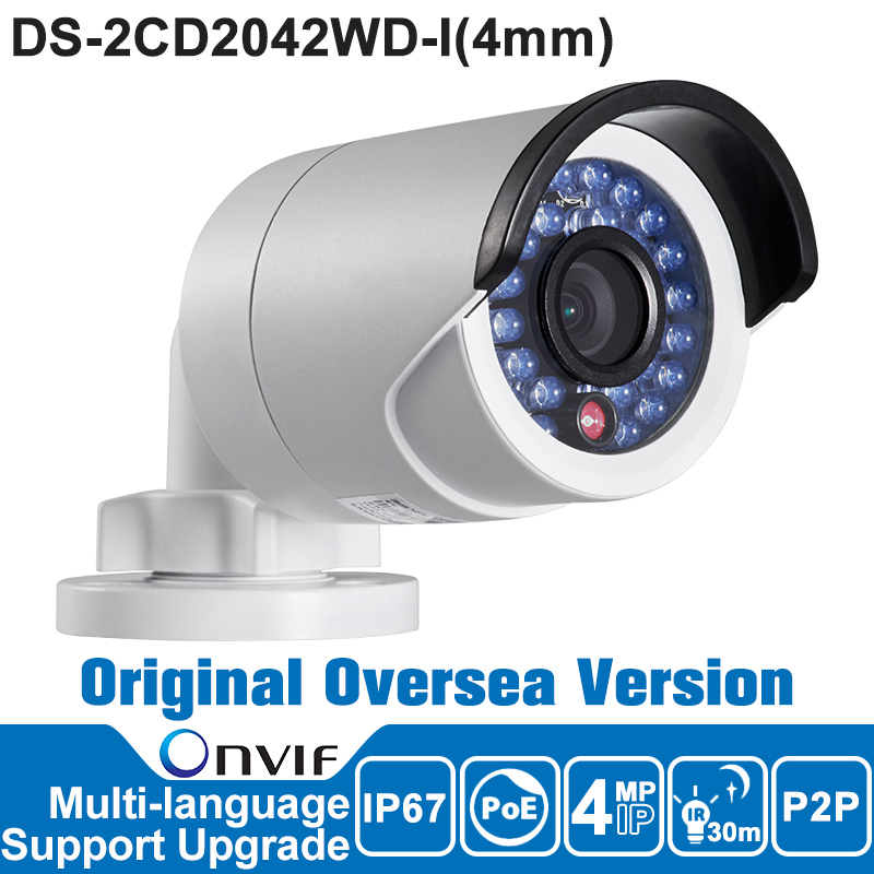 HIKVISION DS-2CD2042WD-I IP Camera 4MP Outdoor P2P IR Bullet Network Camera Security  POE ONVIF IP67 /MJPEG/H.264+ hikvision ds 2de7230iw ae english version 2mp 1080p ip camera ptz camera 4 3mm 129mm 30x zoom support ezviz ip66 outdoor poe