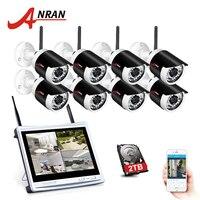 ANRAN 2017 NEW 8CH Wireless Surveillance System 12 LCD Screen Wifi NVR 720P HD H 264