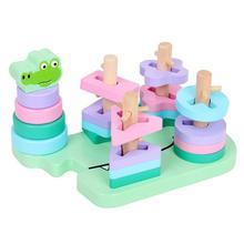 Геометрическая форма детских игрушек деревянное ранее детство обучающий игрушки мультфильм крокодил Макарон строительные блоки