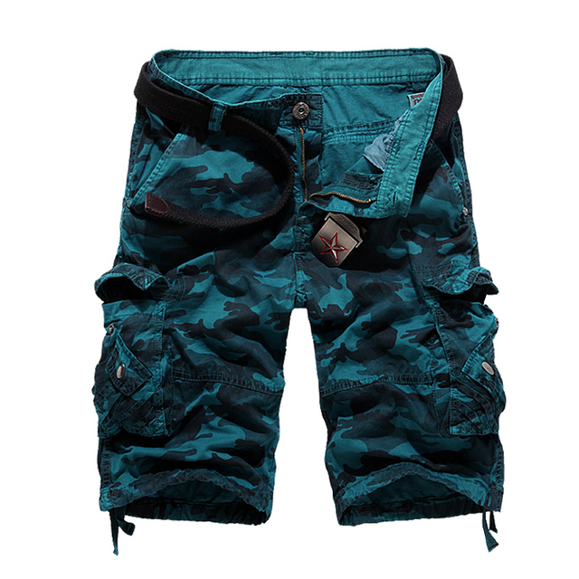 2018 New Camouflage Loose Cargo Shorts Men Cool Summer Military Camo Short Pants Hot Sale Homme Cargo Shorts No belt 4