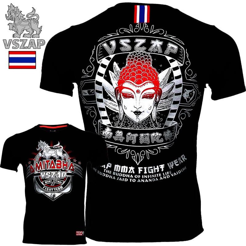 VSZAP Kampf Sanda Boxen MMA T Shirt Gym Tee Shirt Kampf Kampf Kampfkunst Fitness Training Muay Thai T-shirt Mnner Homme