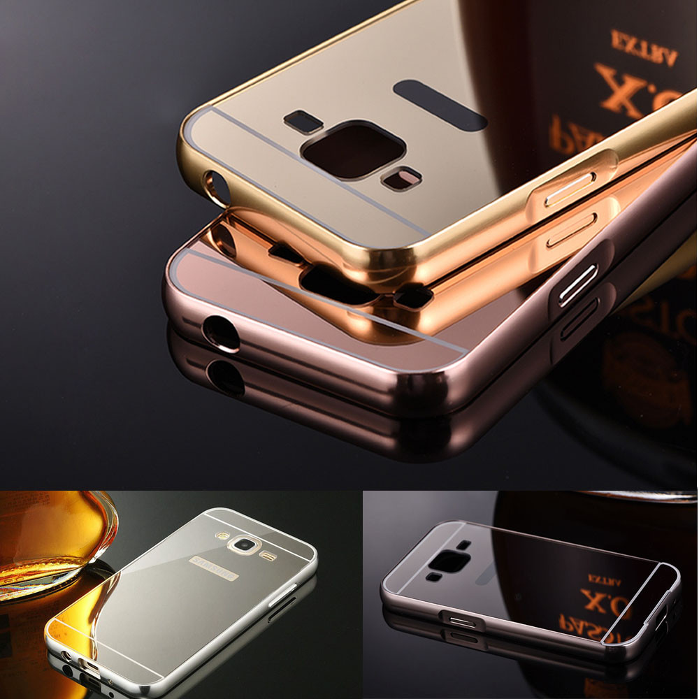 Case Cover Cases Covers Compact Elegant Stylish Mirror Cover Metal Frame Case For Samsung Galaxy Core Prime Prevail LTE G360