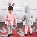 New Spring Autumn Girls Clothing Sets Cotton Rabbit Ear Hoodies +Leggings Pants 2pcs Set Lovely Children's Sets Wholesale CE3631