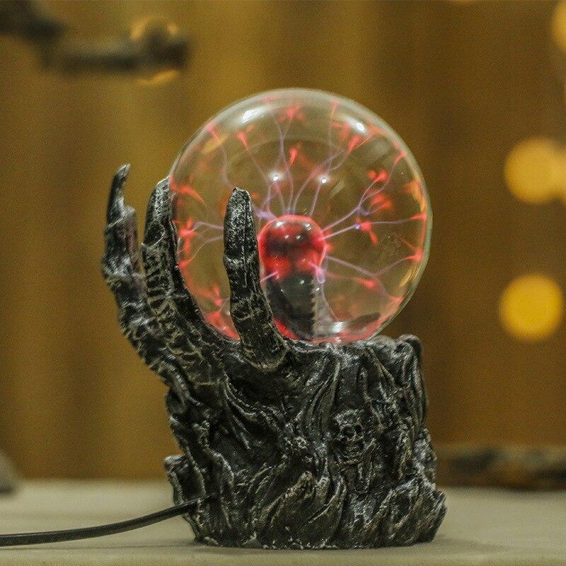 Nouveauté 2018 lampes LED squelette main électrostatique Ion boule magique tactile capteur verre lumière sur bureau décoration boule de Plasma