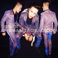 Versión Coreana de Los Hombres más el tamaño S-4XL Trajes Púrpuras Set Cantante Masculino Brillante Flaco Blazer Pantalones Rendimiento Traje Trajes de Fiesta