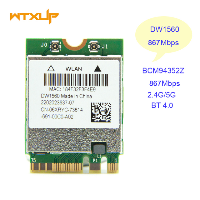Wireless Network Card for dell DW1560 BCM94352Z NGFF M.2 WiFi WLAN Bluetooth 4.0 06XRYC 802.11ac up to 867Mbps BCM94352 card