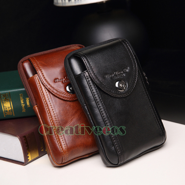 2017 New Men Genuine Leather Vintage Travel Cell/Mobile Phone Cover Case Hip Belt Bum Purse Fanny Pack Waist Bag Pouch