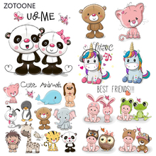 ZOTOONE Cute Unicorn Stripes Patches Set Iron on Transfer Bear Dog for Girl Kids Clothing DIY Heat Stickers G