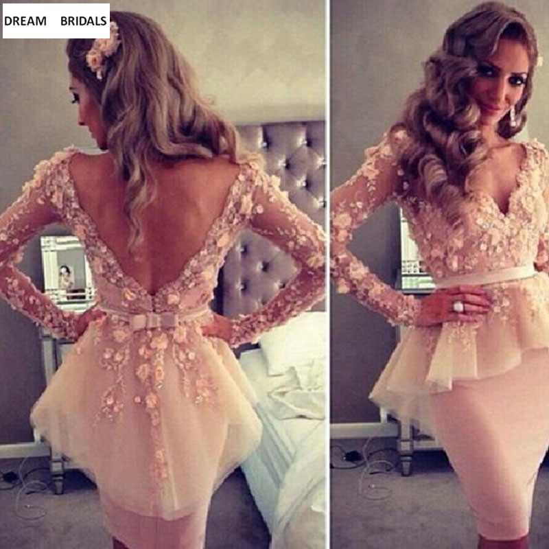 Fashion New Long Sleeves Cocktail Party Dresses Hand Made Pink Flowers Appliques Lace Avondjurk 2019 Robe De Soiree Knee-Length