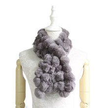 Fashion Cute Winter Warm Fur Balls Rabbit Wraps Crossing Genuine Scarves Women Solid Real Shawls Collars