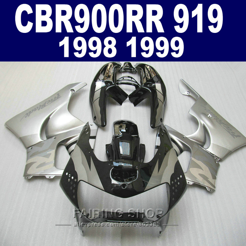 Cheap Fairing kit For Honda CBR900RR 919 1999 1998 Silver black Fairings cbr 900rr 98 99