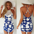 UK Mulheres Celeb Sexy Backless Floral Lace Summer Beach Bodycon Mini Vestido de Festa