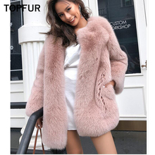 TOPFUR 2018 New Winter Fox Fur Coat Women 70 cm Long Natural Female Luxury Whole Skin Outwear