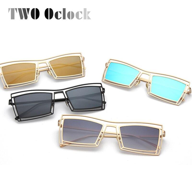 b35b140393920 DOIS Oclock Gothic Praça Óculos De Sol Das Mulheres Dos Homens do Metal do  Ouro Do Vintage Quadro Óculos de Sol Stempunk Revestimento de Espelho Óculos  de ...