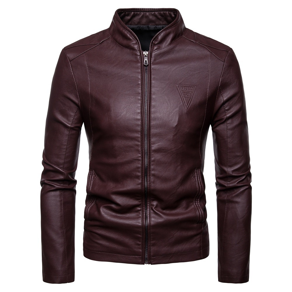 COO New Autumn 2020 Men Cultivate One's Morality Collar PU Leather Jacket Pure Color Fashion Leather Jacket