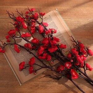 Image 4 - Erxiaobao الوردي الأبيض الأحمر Wintersweet زهر البرقوق الزهور الاصطناعية وهمية الكرز الحرير النباتات حفلة ديكور منزلي للزفاف