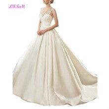LISM Sheer Straps Jewel Lace Appliques Wedding Dress Long Ball Gown Bridal Dresses Elegant Court Train Satin vestido de noiva