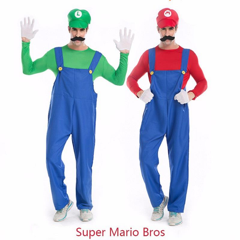 Adogirl NEW Arrival Classic Games Super Mario Bros Luigi Men's Cosplay Costume Clothing Halloween Uniform 5 Piece Clothes