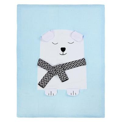 Кондиционер одеяло кролик лиса вязаный ребенок мультфильм животных одеяло диван коляска Чехлы для детей новорожденных постельные принадлежности пеленать decke - Цвет: blue bear