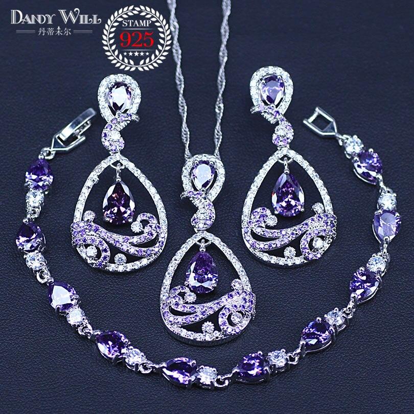 Classic Water Drop Purple Zircon Women's 925 Sterling Silver Jewelry Sets Earrings/Pendant/Necklace/Bracelets