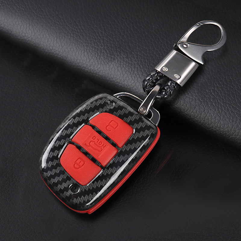 Lsrtw2017 Carbon Fiber Abs Car Key <font><b>Case</b></font> Trims <font><b>for</b></font> <font><b>Hyundai</b></font> <font><b>Tucson</b></font> 2015 2016 2017 2018 <font><b>2019</b></font> 2020 image