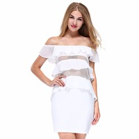 Sexy Off Shoulder Ruffles Dress 2018 Summer Women Tiered Chiffon Dress Ladies Transparent Wrap Hip Short Dress Femme