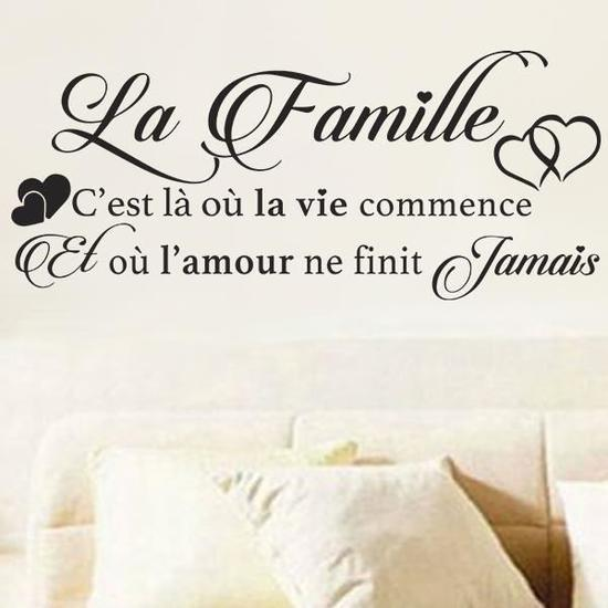 French Quotes Citation te famille Vinyl Wall Stickers Decals Art Wallpaper for Living Room Home Decor House Decoration