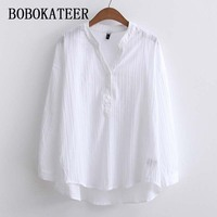 BOBOKATEER Long Sleeve Shirt Women Tops White Blouse Cotton Women Blouses Shirts Camisa Blusas Mujer De