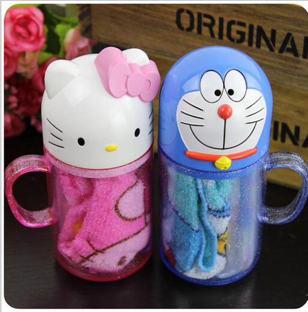 54d80f645 hello kitty Travel Set children's cartoon toothbrush travel toothbrush cup  wash suit students