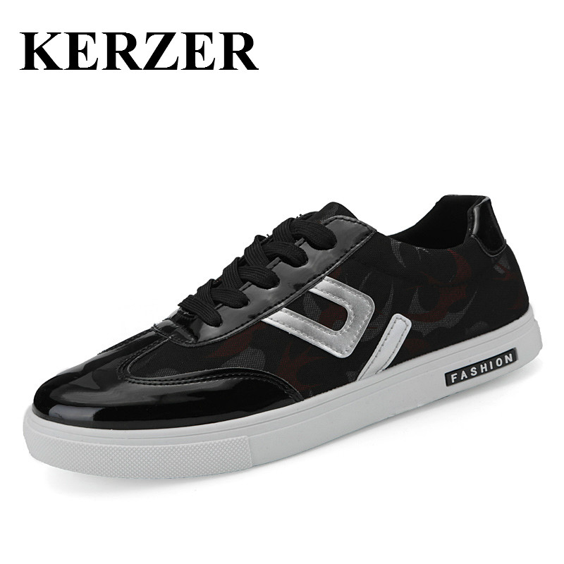 Prix pour KERZER Hommes Sneakers Planche À Roulettes Noir/Blanc Chaussures De Marche pour Homme Printemps/D'été de Sport Chaussures Marque Nouveau Hommes planche à roulettes Chaussures