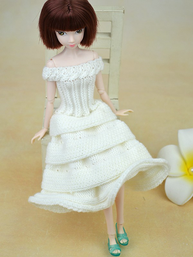 Handmade Doll Accessories Party Wedding Dress Knitting Sweater Dress ...