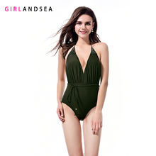 GIRLANDSEA New 2019 One-pieces Swimsuit Solid