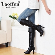 TAOFFEN Size 34-47 Women High Heel Over Knee Boots Fashion Snow Long Boot Warm Winter Brand Botas Footwear Heels Shoes P1318-2