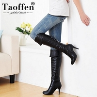 TAOFFEN Size 34 47 Women High Heel Over Knee Boots Fashion Snow Long Boot Warm Winter Brand Botas Footwear Heels Shoes P1318 2