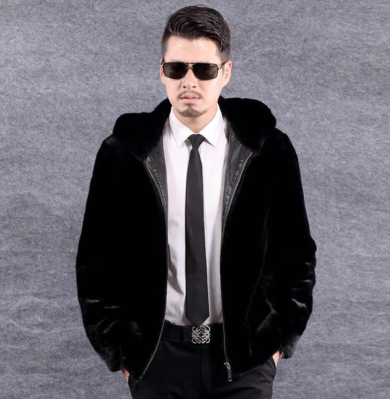 Furry Business Formale Cappotto di Pelliccia Del Faux Per Gli Uomini 2019 Mens Pelliccia di Visone Cappotto Con Cappuccio A Maniche Lunghe In Pelle di Pelliccia Giubbotti XL724