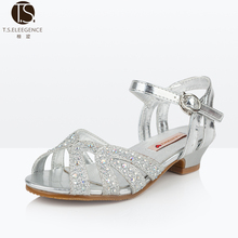 T.S. girls sandals 2017 new diamond rhinestone high heels girl princess sandals Crystal shoes ballet shoes size 28-36