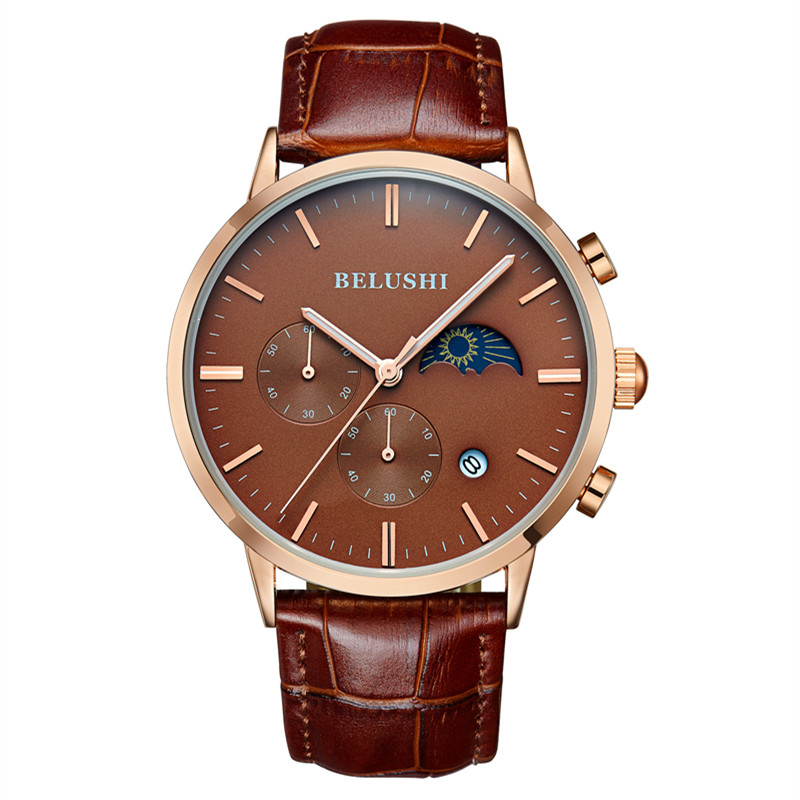 BELUSHI 2017 Mens Watches Top Brand Luxury Function Chronograph Watch Military Men s Genuine Leather Quartz