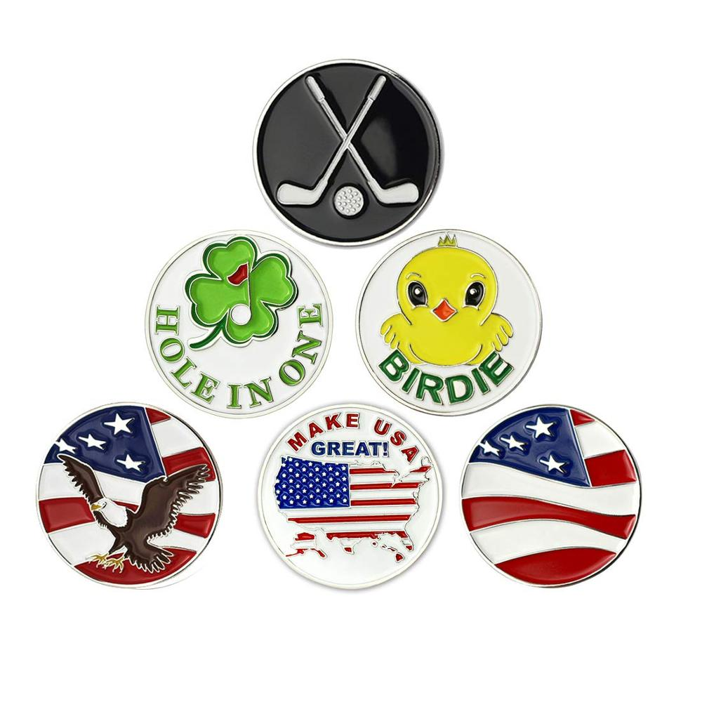 PINMEI Golf Ball Markers,None Magnet Golf Markers,Pack Of 6,Size 24.4mm,can Fit All Magnetic Golf Hat Clips, Most Of Divot Tools