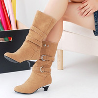 Women boots winter 2018 fashion Pu leather buckle strap winter snow boots women shoes