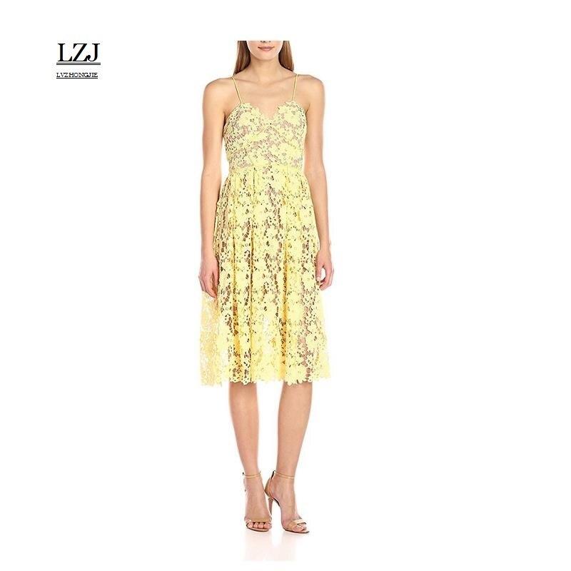 Lzj Новинка 2017 г. высокого класса Vestido De Festa дамы летняя одежда кружева проводов полый вышивка сексуальный платье с цветочным рисунком большие