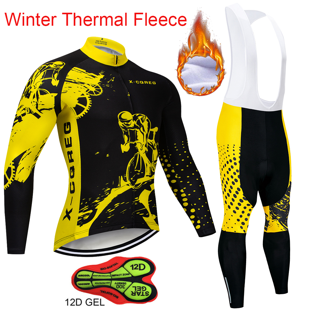 Men Winter Thermal Cycling Clothing 2018 New X-CQREG Long Sleeve Cycling Jersey Set Ropa Ciclismo MTB Bike Maillot Bicycle Wear